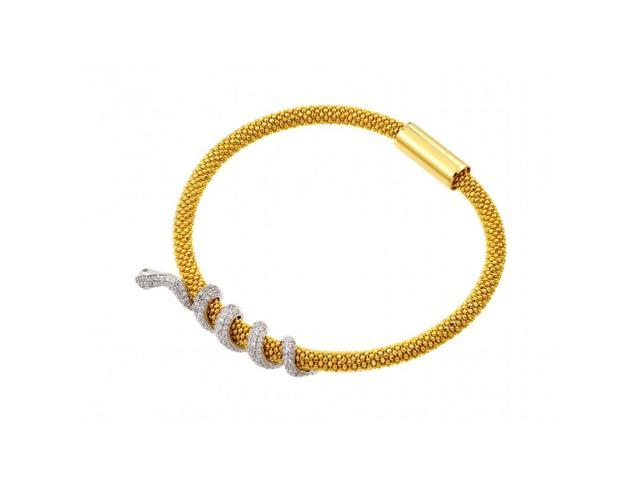 .925 Sterling Silver Gold Plated Snake Wrap Bracelet