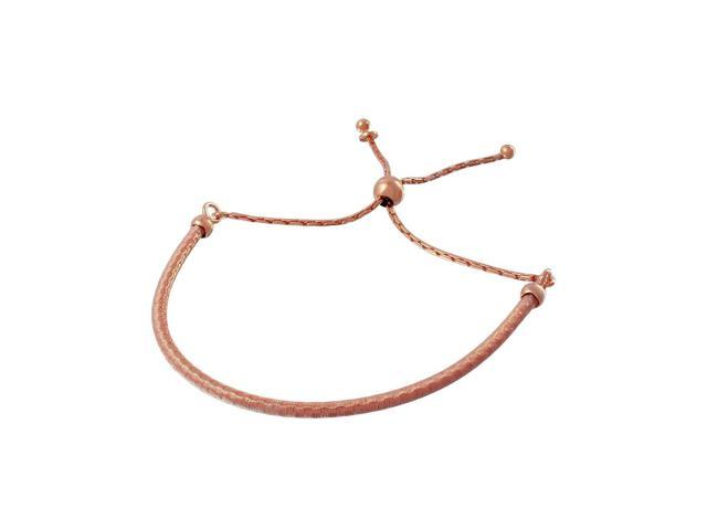 .925 Sterling Silver Rose Gold Plated Italian Lariat Bracelet