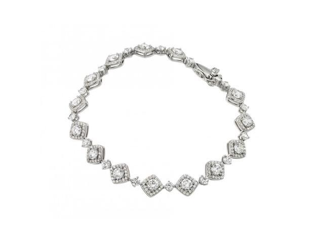 .925 Sterling Silver Rhodium Plated CZ Square Box Bracelet