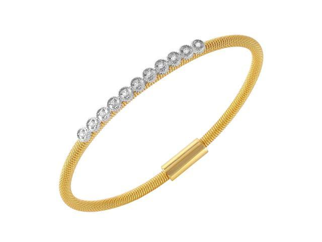 .925 Sterling Silver Gold Plated CZ Small Row Italian Bracelet