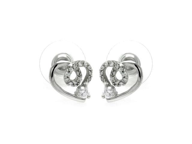 .925 Sterling Silver Rhodioum Plated Open Heart CZ Outline Stud Earring