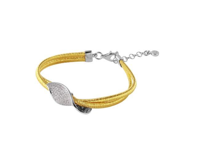 .925 Sterling Silver Gold Plated Italian Bracelet With Micro Pave CZ Curved Accent