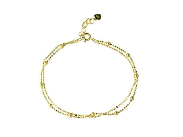 .925 Sterling Silver Gold Plated Double Strand DC Bead Chain Bracelet