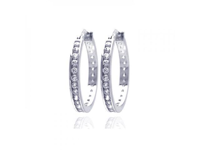 .925 Sterling Silver Rhodium Plated Round Clear CZ Hoop Earring