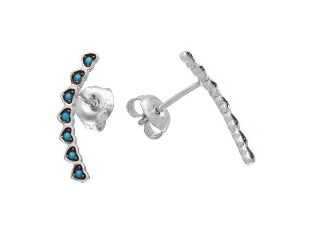 .925 Sterling Silver Rhodium Plated Turquoise Hearts Drop Earrings