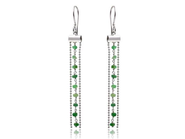 .925 Sterling Silver Rhodium Plated Dangling Tassle Earrings with Green Beads