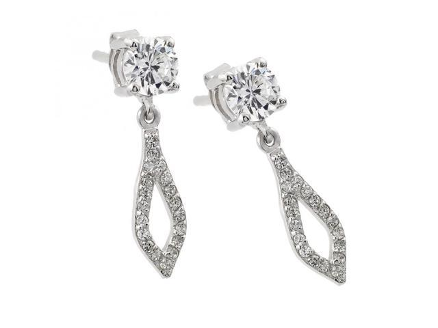 .925 Sterling Silver Rhodium Plated Square & Round Open Marqui Clear CZ Dangling Stud Earring