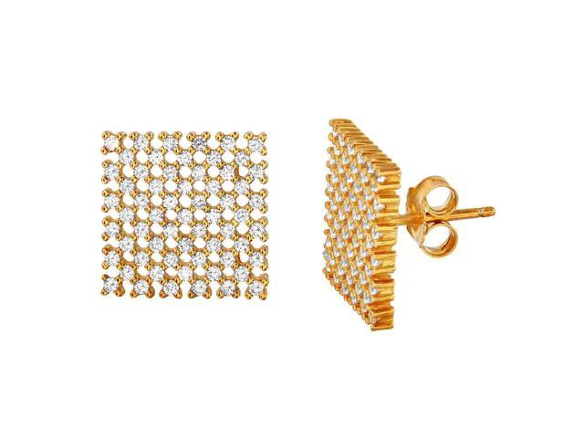 .925 Sterling Silver Gold Plated Large Checkered CZ Stud Earrings