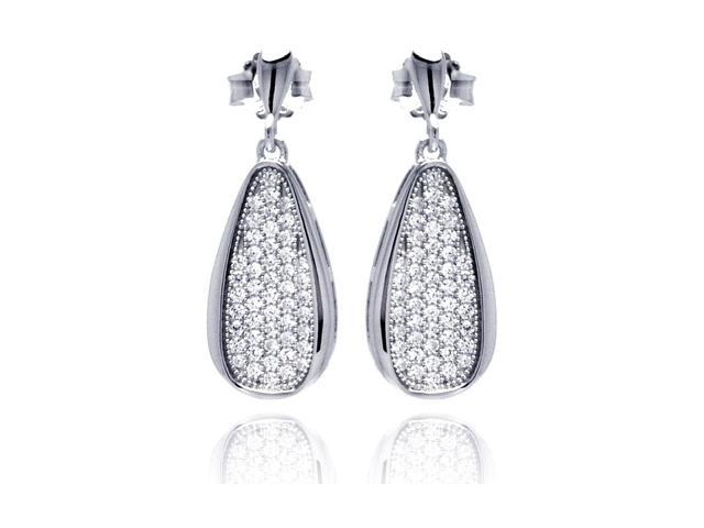 .925 Sterling Silver Rhodium Plated Micro Pave Clear Teardrop CZ Dangling Stud Earring