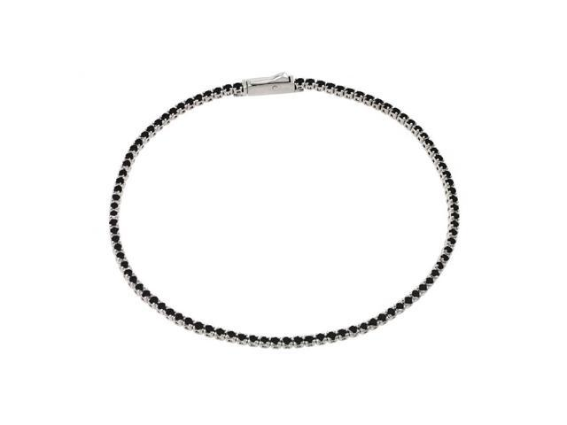 .925 Sterling Silver Rhodium Plated Multiple Cricle Black Tennis Micro Pave CZ Bracelet