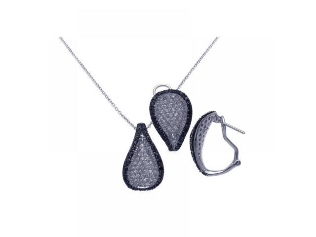 .925 Sterling Silver Black & Rhodium Plated Teardrop Black CZ Lever Back Earring & Necklace Set