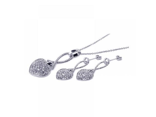 .925 Sterling Silver Rhodium Plated Heart CZ Stud Earring & Necklace Set