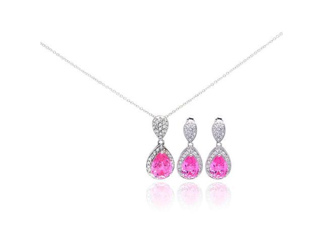 .925 Sterling Silver Rhodium Plated Pink Teardrop CZ Dangling Stud Earring & Necklace Set