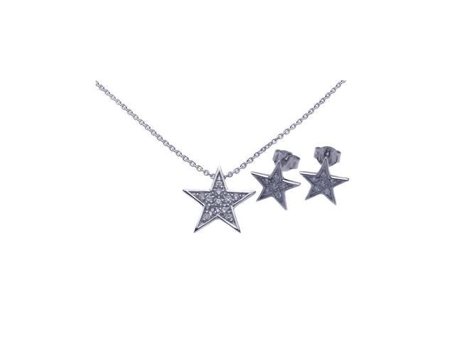 .925 Sterling Silver Rhodium Plated Star CZ Stud Earring & Necklace Set