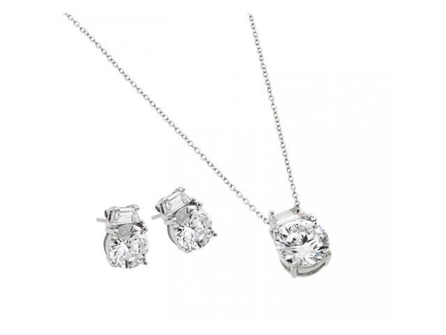 .925 Sterling Silver Rhodium Plated Round CZ Stud Earring & Necklace Set