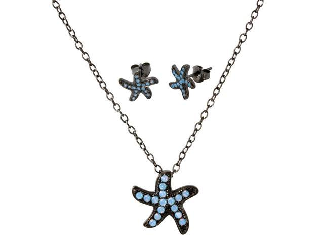 .925 Sterling Silver Black Rhodium Plated Light Blue Opal Starfish Set
