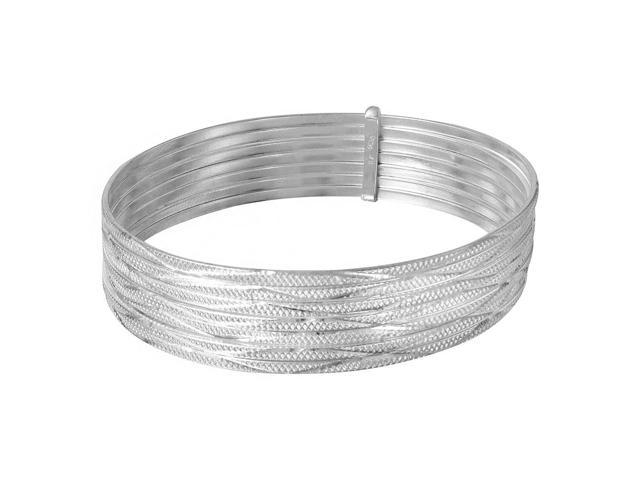 .925 Sterling Silver High Polished Diamond Cut Semanario Bangle Bracelet, Size 60mm