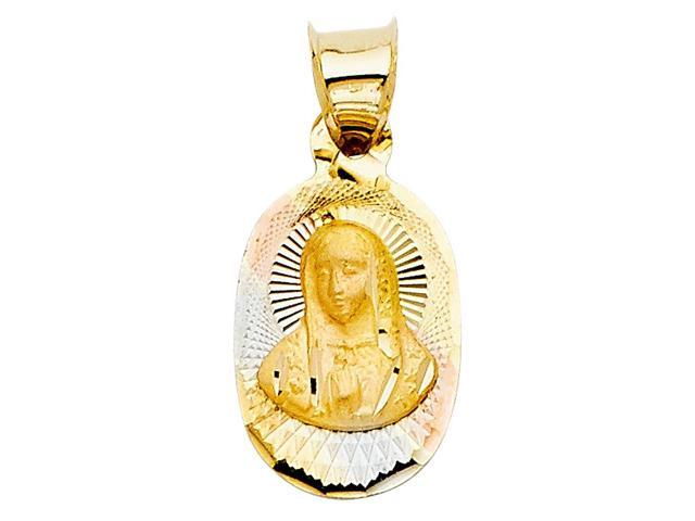14K Tri-Color Gold  Religious Guadalupe Stamp Pendant