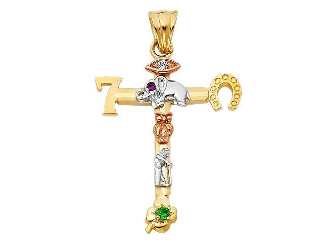 14K Tri-Color Gold  Lucky Religious Cross Pendant