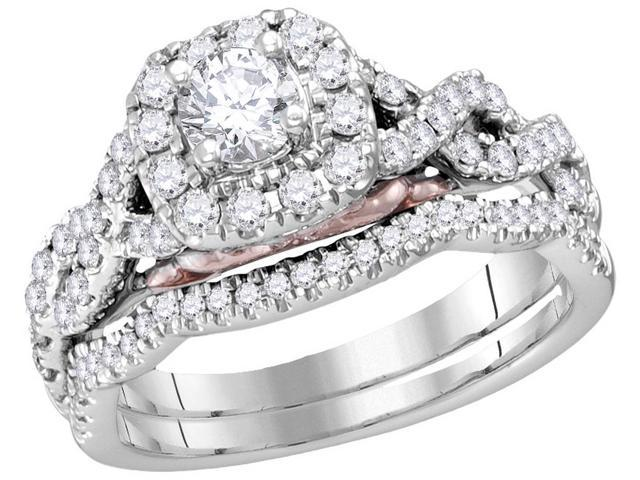 14k White Gold Womens Round Diamond Bellissimo Bridal Wedding Infinity Ring Band Set 1.00 Cttw (Ring Size 7.5)