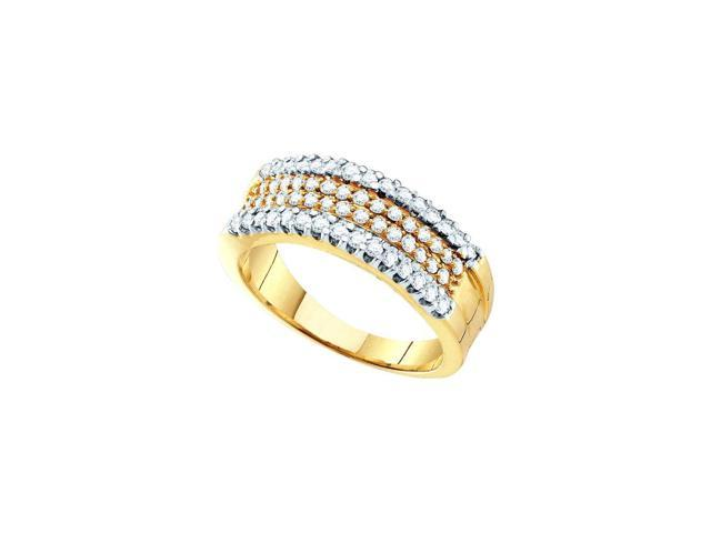 14kt Yellow Gold Womens Round Pave-set Diamond Four Row Band Ring 3/4 Cttw (Ring Size 5.5)