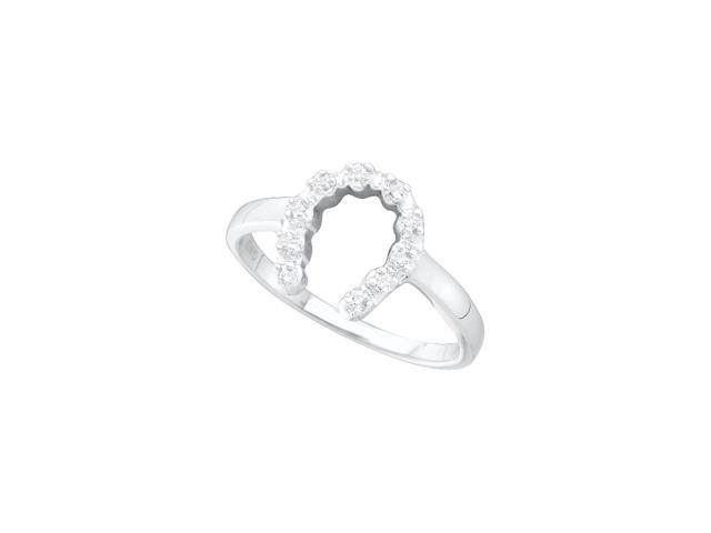 14kt White Gold Womens Round Diamond Simple Lucky Horseshoe Ring 1/20 Cttw (Ring Size 5)