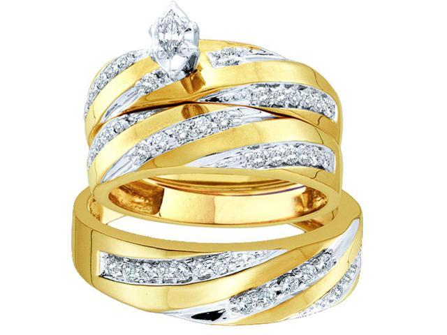 10kt Yellow Gold His & Hers Marquise Diamond Solitaire Matching Bridal Wedding Ring Band Set 3/4 Cttw (Ring Size 10.5)