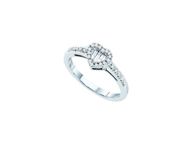 14kt White Gold Womens Round Baguette Diamond Heart Cluster Ring 1/6 Cttw (Ring Size 7.5)