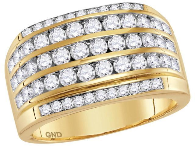 14kt Yellow Gold Mens Round Diamond Striped Wedding Anniversary Band Ring 2-1/3 Cttw (Ring Size 9.5)