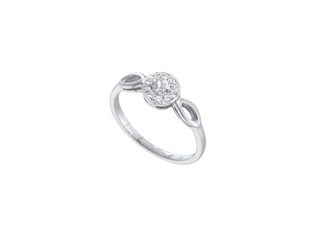 10kt White Gold Womens Round Diamond Solitaire Promise Bridal Ring 1/8 Cttw (Ring Size 9)