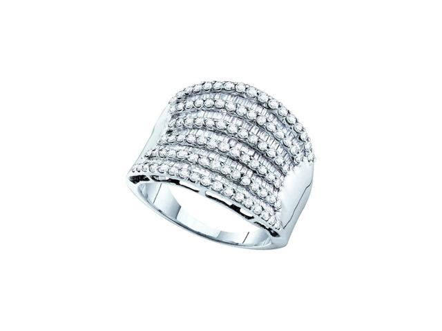14kt White Gold Womens Round Baguette Diamond Striped Cocktail Ring 1-5/8 Cttw (Ring Size 5.5)