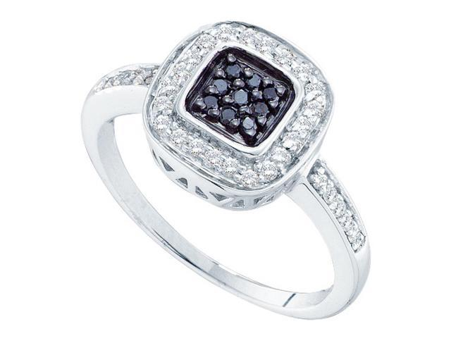 14kt White Gold Womens Round Black Colored Diamond Square Cluster Ring 1/4 Cttw (Ring Size 11)