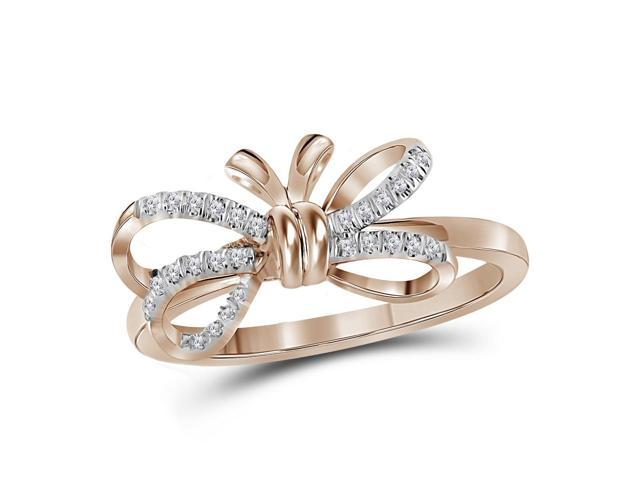 10kt Rose Gold Womens Round Diamond Ribbon Bow Knot Ring 1/8 Cttw (Ring Size 6)