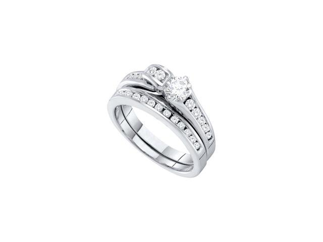 14kt White Gold Womens Round Diamond Bridal Wedding Engagement Ring Band Set 1.00 Cttw (Ring Size 9)