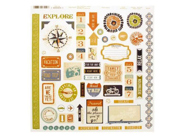123-Wholesale: Set of 120 Travel Words & Icons Sticker Sheet (Scrapbooking, Stickers)
