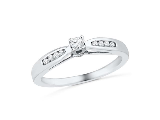 0.20 Ctw Diamond 10kt White Gold Womens Round Diamond Solitaire Promise Bridal Ring
