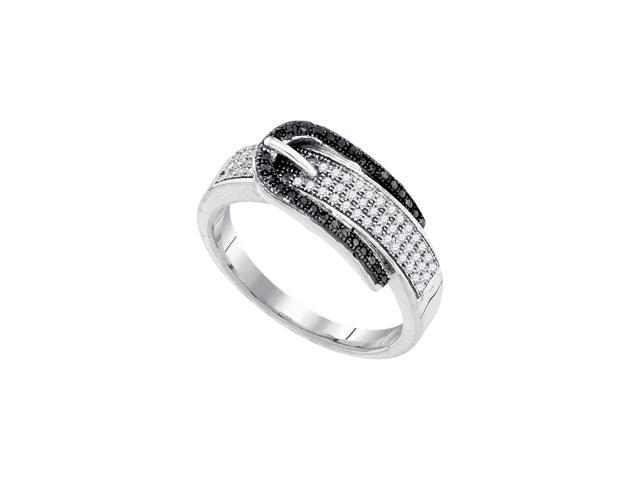0.25 Ctw Diamond 10kt White Gold Womens Round Black Colored Diamond Belt Buckle Band Ring