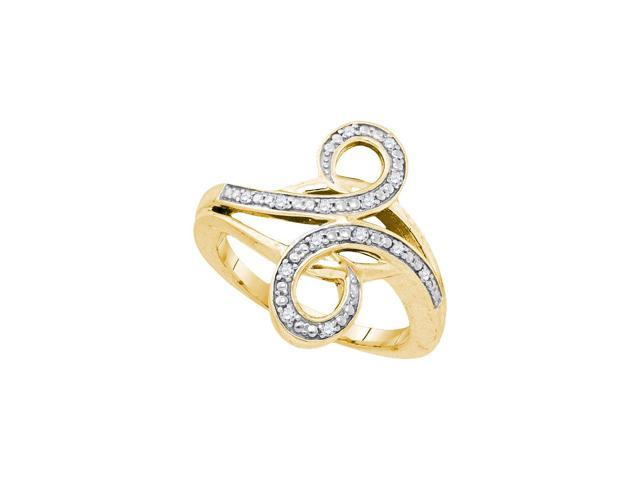 0.12 Ctw Diamond Yellow-tone .925 Sterling Silver Womens Round Diamond Bypass Curl Band Ring