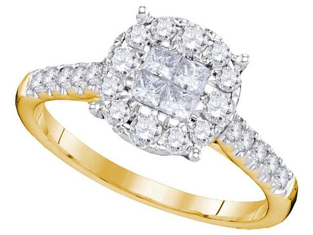 0.75 Ctw Diamond 14kt Yellow Gold Womens Princess Round Diamond Soleil Cluster Bridal Wedding Engagement Ring