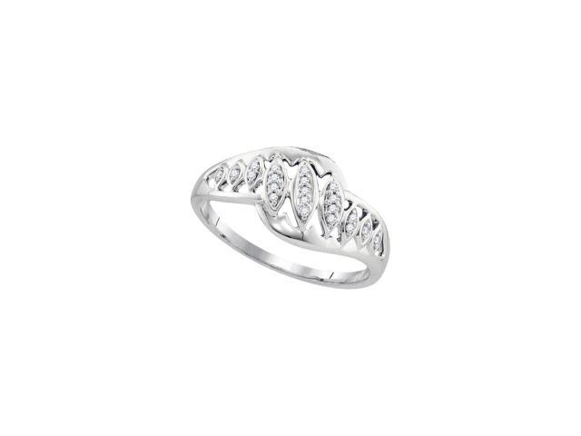 0.06 Ctw Diamond 10kt White Gold Womens Round Diamond Striped Openwork Band Ring