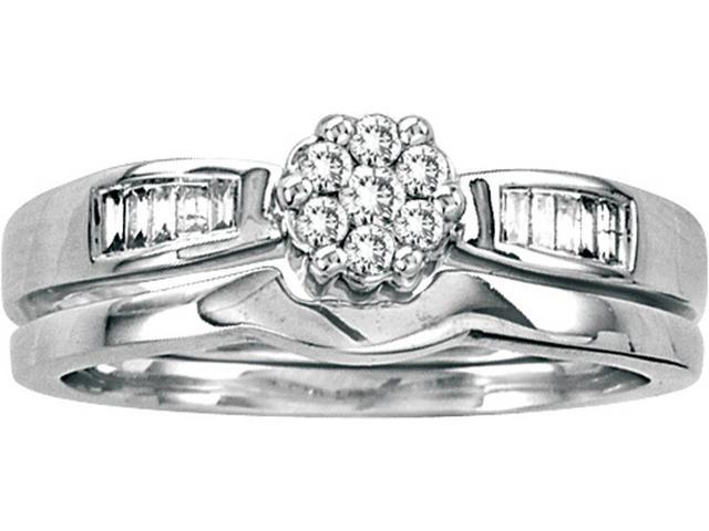 0.25 Ctw Diamond 14kt White Gold Womens Round Diamond Flower Cluster Bridal Wedding Engagement Ring Band Set