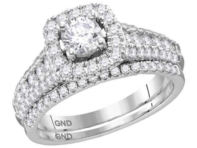 1.50 Ctw Diamond 14kt White Gold Womens Round Diamond Bridal Wedding Engagement Ring Band Set (Certified)