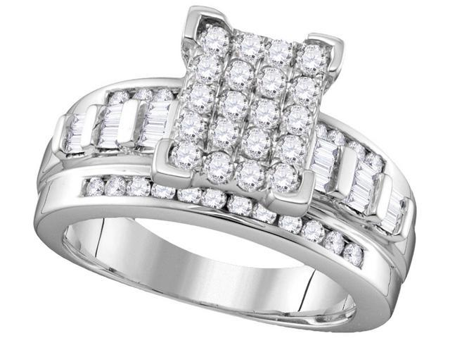 0.84 Ctw Diamond 10kt White Gold Womens Round Diamond Rectangle Cluster Bridal Wedding Engagement Ring - Size 7