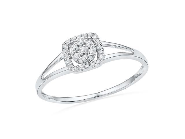 0.10 Ctw Diamond 10kt White Gold Womens Round Diamond Square Frame Cluster Ring