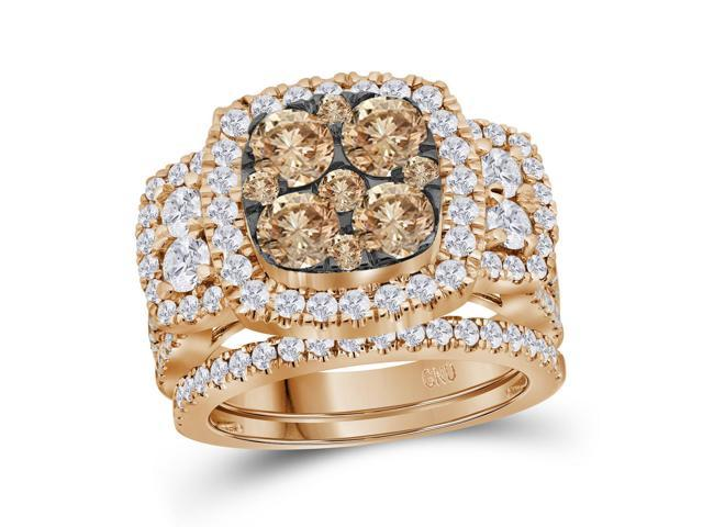 3.01 Ctw Diamond 14kt Rose Gold Womens Round Brown Diamond Cluster Bridal Wedding Engagement Ring Band Set
