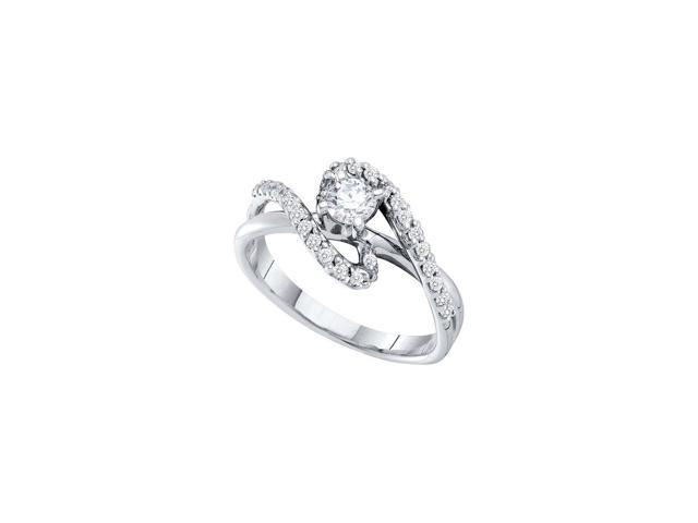0.50 Ctw Diamond 14kt White Gold Womens Round Diamond Solitaire Swirl Bridal Wedding Engagement Ring