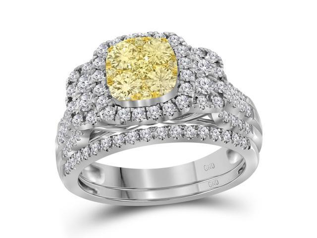 0.53 Ctw Diamond 14kt White Gold Womens Round Yellow Diamond Bridal Wedding Engagement Ring Band Set