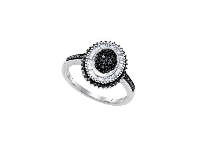 0.53 Ctw Diamond 10kt White Gold Womens Round Black Colored Diamond Oval Cluster Ring