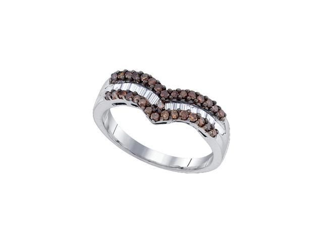 0.57 Ctw Diamond .925 Sterling Silver Womens Round Cognac-brown Colored Diamond Chevron Band Ring