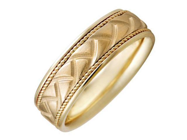 18K Yellow Solid Gold Patterns Unique Comfort Fit Men's and Women's Wedding Band Ring - 8mm